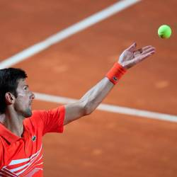 Serbia's Novak Djokovic in action during his semi final match against Argentina's Diego Schwartzman. - Reuters
