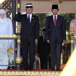 From left: Raja Permaisuri Agong Tunku Hajah Azizah Aminah Maimunah Iskandariah, the Yang di-Pertuan Agong Al-Sultan Abdullah Ri'ayatuddin Al-Mustafa Billah Shah, Sultan of Brunei, Sultan Hassanal Bolkiah and Raja Isteri Pengiran Anak Hajah Saleha, at the Laila Kenchana Room at Istana Nurul Iman, on Aug 19, 2019. — Bernama