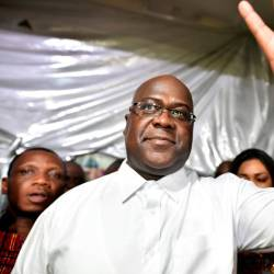 Felix Tshisekedi, leader of the Congolese main opposition party, the Union for Democracy and Social Progress who was announced as the winner of the presidential elections gestures to his supporters at the party headquarters in Kinshasa, Democratic Republic of Congo, Jan 10, 2019. — Reuters