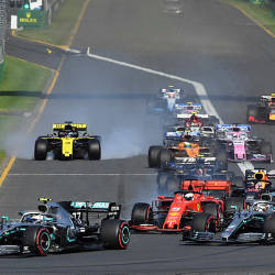 Mercedes' Finnish driver Valtteri Bottas (L) leads a pack at the start of the Australian Grand Prix in Melbourne — AFP