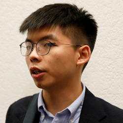 Hong Kong's pro-democracy activist Joshua Wong speaks to a reporter after a panel discussion on Anti-Extradition Law Movement in Hong Kong at Columbia University Law School in New York City, US, Sept 13. — Reuters