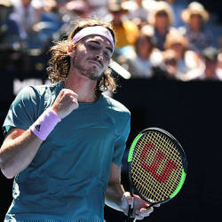 Greece's Stefanos Tsitsipas reacts after a point against Spain's Roberto Bautista Agut during their men's singles quarter-final match on day nine of the Australian Open. — AFP