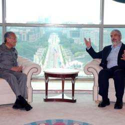Prime Minister Tun Dr Mahathir Mohamad in a meeting with former Hamas chairman Khalid Meshaal at Perdana Putra, Putrajaya on May 22, 2019. — Bernama