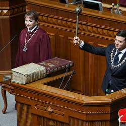 Ukraine's President Volodymyr Zelensky holds Bulava, the Ukrainian symbol of power, during his inauguration ceremony at the parliament in Kiev on May 20, 2019. - AFP