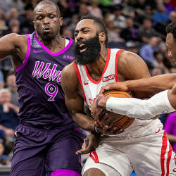 Houston Rockets guard James Harden (13) drives to the basket as Minnesota Timberwolves guard Josh Okogie (20) attempts to take the ball away in the first half at Target Center. — Reuters