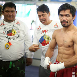 Boxer Manny Pacquiao of the Philippines works out in advance of his WBO welterweight bout against Jessie Vargas, in Los Angeles, US, Oct 26, 2016. — Reuters