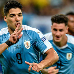Uruguay's Luis Suarez celebrates after scoring against Ecuador during their Copa America football tournament group match at the Mineirao Stadium in Belo Horizonte, Brazil, on June 16, 2019.