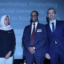 MACC chief commissioner Latheefa Koya (2nd L) poses for a photo at the Regional Workshop Promoting Beneficial Ownership Transparency in Southeast Asia, on July 22, 2019
