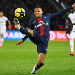 Paris Saint-Germain's French forward Kylian Mbappe controls the ball during the French L1 football match between Paris Saint-Germain (PSG) and Dijon at the Parc des Princes stadium in Paris on May 18, 2019. - AFP