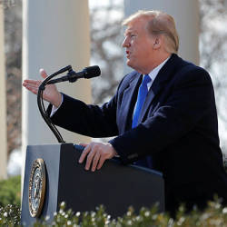 US President Donald Trump declares a national emergency at the US-Mexico border while speaking about border security in the Rose Garden of the White House in Washington, US, Feb 15, 2019. — Reuters