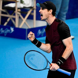 Britain's Andy Murray reacts as he plays against Switzerland's Stanislas Wawrinka during their men's single tennis final match of the European Open ATP Antwerp, on October 20, 2019 in Antwerp. Belgium. — AFP