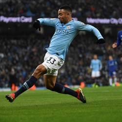 Manchester City's Brazilian striker Gabriel Jesus scores the opening goal during the English Premier League football match between Manchester City and Everton at the Etihad Stadium in Manchester, England, on Dec 15, 2018. — AFP