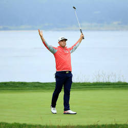 Gary Woodland of the United States celebrates on the 18th green after winning the 2019 US Open at Pebble Beach Golf Links on June 16, 2019 in Pebble Beach, California. – AFP