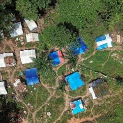 Aerial view of the Kuala Koh Orang Asli settlement.