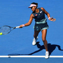 Japan's Naomi Osaka hits a return against Latvia's Anastasija Sevastova during their match at the Australian Open, on Jan 21, 2019. — AFP