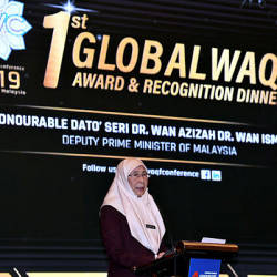 Deputy Prime Minister Datuk Seri Dr Wan Azizah Wan Ismail delivering her keynote address during the 1st Global Waqf Conference (GWC) Awards & Recognition Ceremony at Menara Kembar Bank Rakyat yesterday. — Bernama