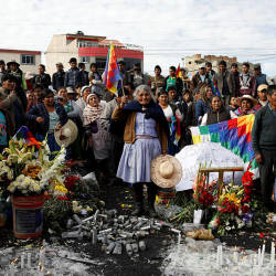 Supporters of former Bolivian President Evo Morales mourn the death of a man, who they say was killed by security forces, in Sacaba, near Cochabamba, Bolivia Nov 17, 2019. — Reuters