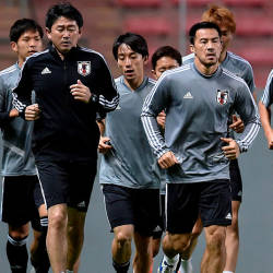 Japan's players train during a practice session at the Independencia stadium in Belo Horizonte, state of Minas Gerais, Brazil, on June 23, 2019, ahead of a Copa America football match against Ecuador next June 24. — AFP
