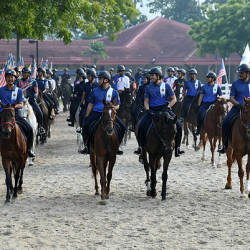 The mounted unit of Putrajaya Corporation's (PPj) enforcement section training for the parade during the National Day celebrations, at Dataran Putrajaya yesterday. — Bernama