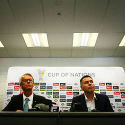 Football Federation Australia Chief Executive Officer David Gallop (L) and newly appointed head coach of the Australian national women's football team Ante Milicic attend a press conference at Suncorp Stadium in Brisbane — AFP