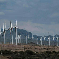 In this file photo taken on June 29, 2018 wind turbines of the Lake Turkana Wind Power project (LTWP), which have been standing idle for nearly a year, are seen in Loiyangalani district, Marsabit County, northern Kenya. — AFP