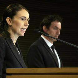 New Zealand Prime Minister Jacinda Ardern speaks during a press conference with Police Minister Stuart Nash at the Parliament House in Wellington — AFP