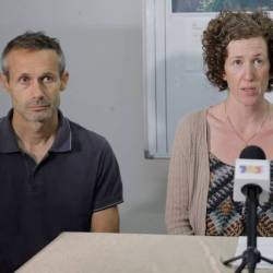 Filepix taken on Aug 12 shows Sebastien Marie Philipe and Meabh Jaseprine Quoirin, parents of 15-year-old Nora Anne Quoirin who went missing, speaking during a news conference in Seremban. — Reuters