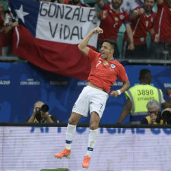 Chile's Alexis Sanchez celebrates after scoring against Ecuador during their Copa America football tournament group match at the Fonte Nova Arena in Salvador, Brazil, on June 21, 2019. — AFP