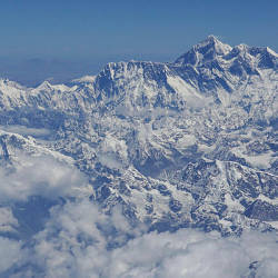 In this file photo taken on April 27, 2019, an aerial view of Mount Everest (centre R) is pictured on a flight from Nepal to Bhutan. — AFP