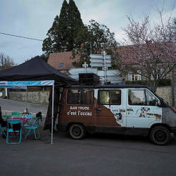 Concept bar truck of Sebastien Cherrier, former caseworker turned second-hand goods dealer then bartender, on the village square in Villequiers, near Bourges, central France — AFP