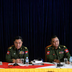 Brigadier General Zaw Min Tun (R), Major General Soe Naing Oo (C) and Major General Tun Tun Nyi of Myanmar's military information committee attends a press conference in the Yangon division military headquarters in Yangon on Feb 23, 2019. — AFP