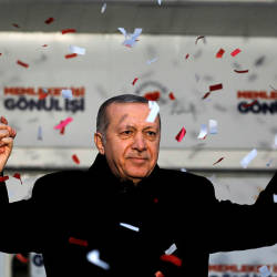 Turkish President Tayyip Erdogan reacts during a rally for the upcoming local elections in Istanbul, Turkey, Feb 16, 2019. — AFP