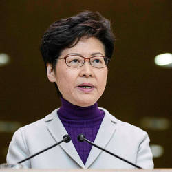 Hong Kong Chief Executive Carrie Lam speaks during a press conference at the government headquarters in Hong Kong on Dec 3, 2019 — AFP