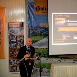 Bernabe speaking during Continental's rubber compound mixing facility inauguration ceremony.