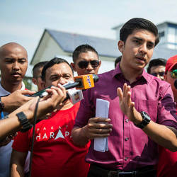 Youth and Sports Minister Syed Saddiq Syed Abdul Rahman, who also serves as Pakatan Harapan Youth chief, speaks to reporters after lodging a police report on the incident that had taken place in Semenyih this morning, at Sungai Way Police Station on Feb 16, 2019. — Bernama