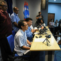 Kedah PKR chairman Datuk Johari Abdul (seated, 2nd from L) speaks at a press conference after the first meeting of the council at the PKR headquarters in Petaling Jaya today. — Bernama