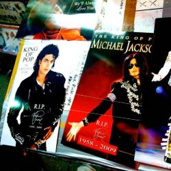 Michael Jackson memorabilia is on display for sale at Times Square on June 27, 2009 in New York City. — AFP