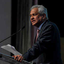 Filepix taken on Oct 15 shows Attorney General Tan Sri Tommy Thomas delivering his closing remarks at the International Directors Summit in Kuala Lumpur. — Bernama