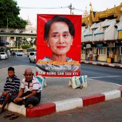 A poster supporting Aung San Suu Kyi as she attends a hearing at the International Court of Justice is seen in a road in Yangon, Myanmar, December 12, 2019. - Reuters