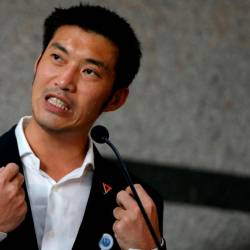 File picture of Thanathorn Juangroongruangkit, leader of the Future Forward Party, speaking during a news conference at the parliament in Bangkok, Thailand on June 5, 2019. - Reuters