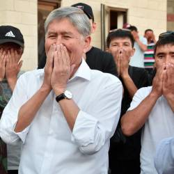 Former Kyrgyz president Almazbek Atambayev meets with supporters in the village of Koi-Tash near the capital Bishkek on June 26, 2019. — AFP