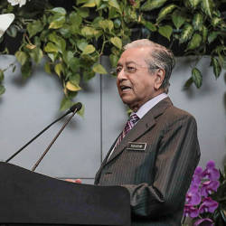 Filepix taken on Aug 13 shows Prime Minister Tun Mahathir Mohamad speaking during the launch of KLIA Turns 21 ceremony at Kuala Lumpur International Airport (KLIA). — Sunpix by Ashraf Shamsul