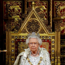 Britain's Queen Elizabeth sits in The Sovereign's Throne during the State Opening of Parliament in the House of Lords at the Palace of Westminster in London, Britain October 14, 2019. — Reuters