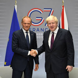 Britain's Prime Minister Boris Johnson meets European Union Council President Donald Tusk at a bilateral meeting during the G7 summit in Biarritz, France Aug 25, 2019. — Reuters