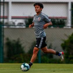 Takefusa Kubo takes part in a training session in Sao Paulo, Brazil, on June 13, 2019, on the eve of the start of the Copa America football tournament. - AFP
