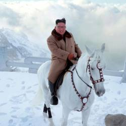 North Korean leader Kim Jong Un rides a horse during snowfall in Mount Paektu in this image released by North Korea's Korean Central News Agency (KCNA) on Oct 16, 2019. — Reuters