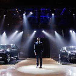 BMW Group Malaysia head of corporate communications Sashi Ambi presenting the first-ever X7 (left) and the new 7 Series in Kuala Lumpur.