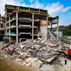 The wreckage after part of the Gombak LRT car park that was under construction collapsed. — Bernama