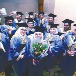 UNITAR International University graduates celebrating their convocation.