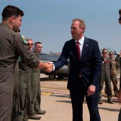 Acting US Secretary of Defense Patrick M. Shanahan meets with members of the 51st Fighter Wing, at Osan Air Base, South Korea, June 3, 2019. - Reuters
